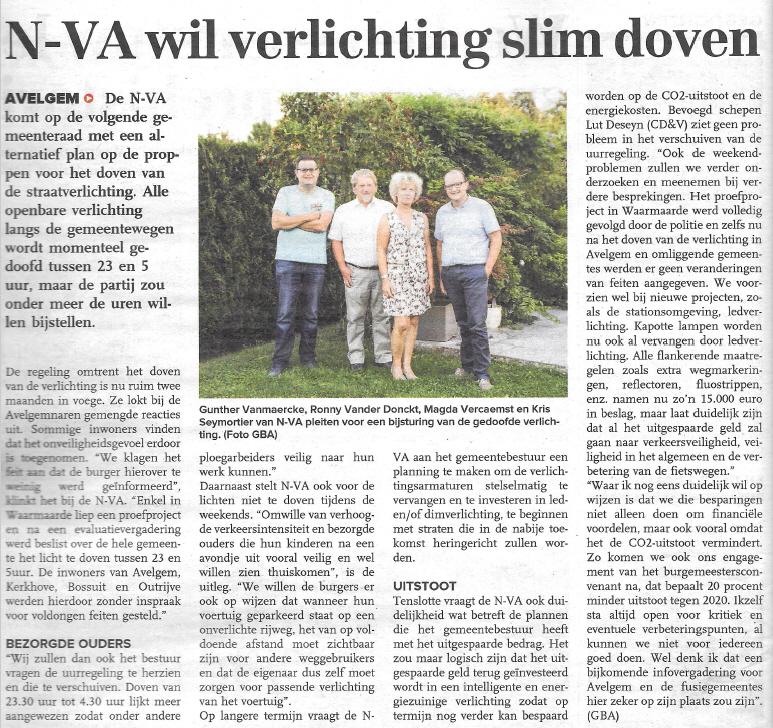 Openbare verlichting 'slim' doven in Avelgem - Krant van West-Vlaanderen 16 september 2016