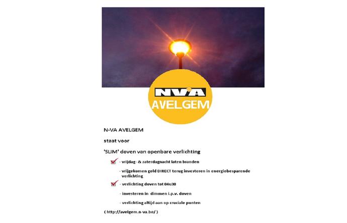N-VA AVELGEM staat voor 'SLIM' doven van openbare verlichting - checklist