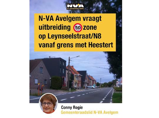 N-VA Avelgem vraagt uitbreiding 50km zone Leynseelstraat/N8 vanaf Heestert