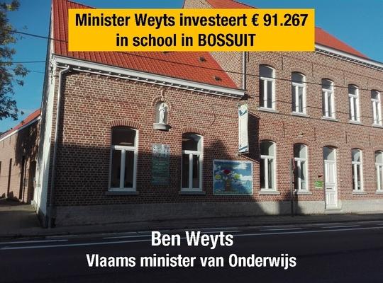Minister Weyts investeert €91.267 in Vrije Kleuterschool in Bossuit