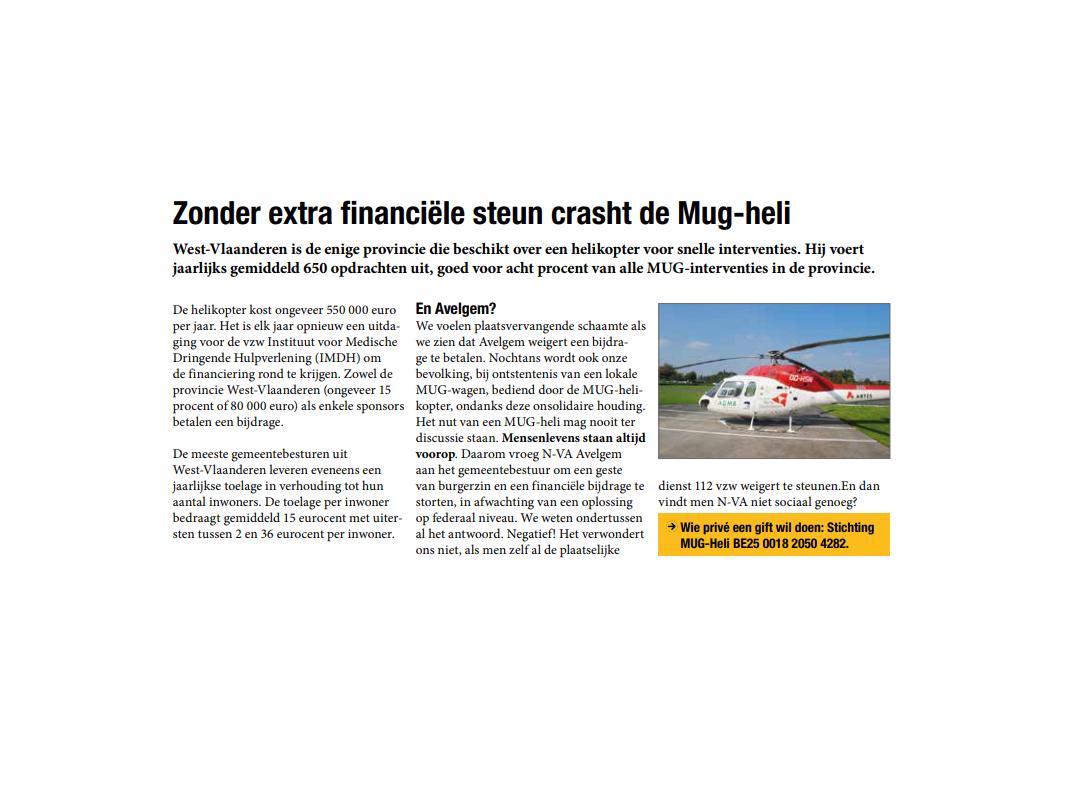 N-VA Avelgem zoekt financiële steun voor Mug-heli.