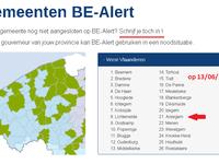 De gemeentes aangesloten op BE-Alert op 13/06/2017