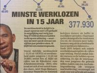 Minste werklozen in 15 jaar (HLN)